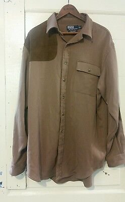 Vintage Ralph Lauren Polo Cagney brown 100% wool shirt size Large