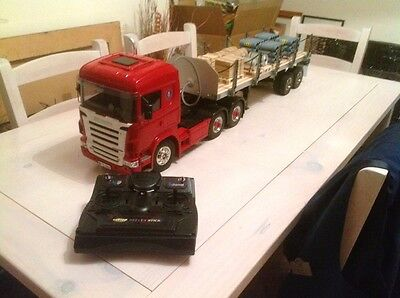 Tamiya 1:14 Scania With MFU & Flatbed With Electric Legs