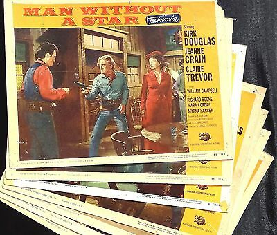 Man Without A Star 1955 Set Of 7 Vintage Western Lobby Film Cards Kirk Douglas