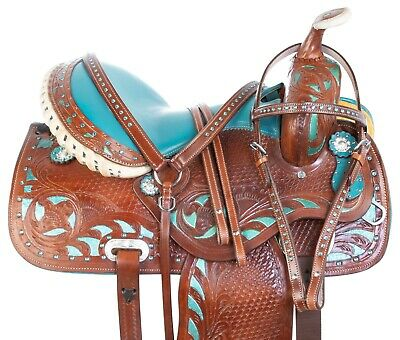 16 17 18 Custom Rough Out Western Barrel Racing Trail Leather Horse Saddle Tack