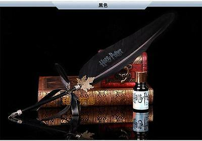 Harry Potter Hogwarts Writing Quill Feather Pen Deathly Hallows Costume Black