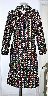 Ladies Coat 60s Style A Line Pop Print Black Multi Colour -size 12- HIGH QUALITY