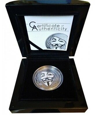 Anonymous  V for Vendetta Guy Fawkes Mask 2016 $5 1oz Proof Ag SMART TECHNOLOGY