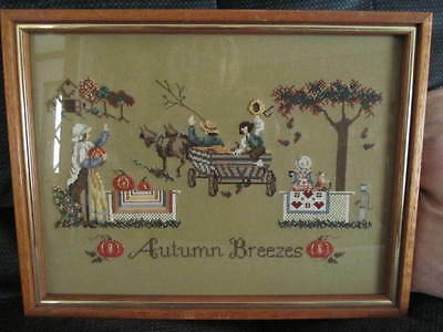 "Amish ""Autumn Breezes"" Completed Cross Stitch Framed"
