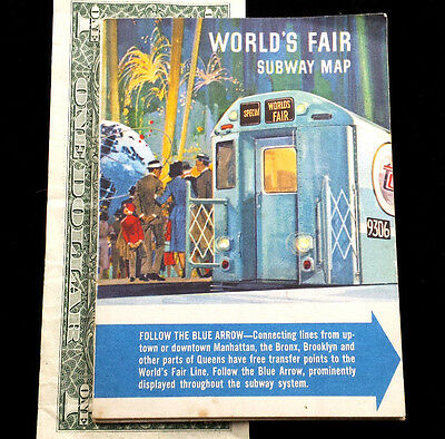Original Vintage 1964 New York Worlds Fair Subway Map Guide Ny Transit Art Vgc