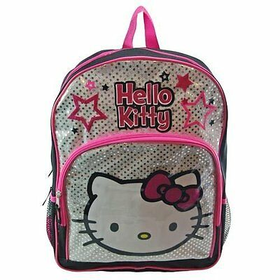 """Sanrio Hello Kitty Girls 16"""" Canvas Silver and Pink School Backpack Book Bag"""