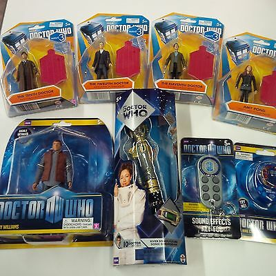 Doctor Who Lot of 8 items: 10th Dr. Sonic Screwdriver, Figures, Sound FX FOB etc