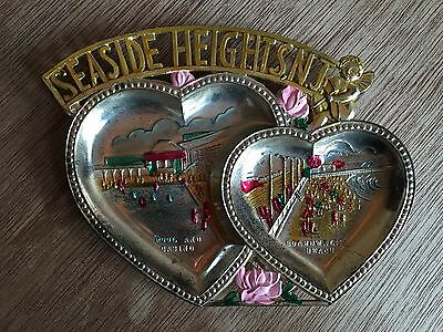 SEASIDE HEIGHTS NJ Souvenir double heart metal tray, Vintage Gold, Jersey Shore