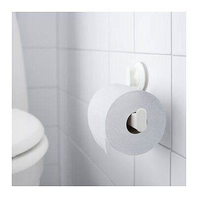 IKEA Toilet Paper Roll Holder With Suction Cup, White Plastic Bathroom Brand New