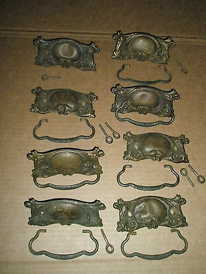 8 Antique Drawer Pulls Handles Brass Bronze Ornate Acanthus Leaf Large Size