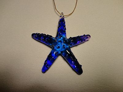 Hanging Starfish Purple Blue Figurine of Blown Glass Crystal
