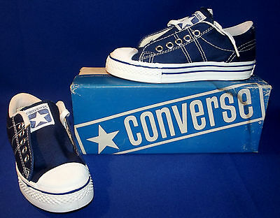 Vtg 1970s Converse Straight Shooter Sneakers Boy Sz 4 Navy Blue New Old Stock
