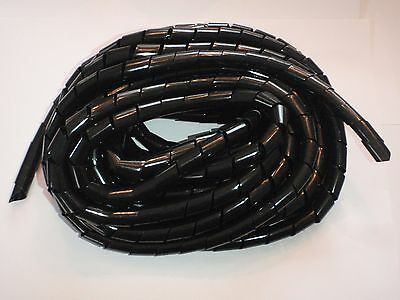"""Spiral Wrap Harness Cable 1/4"""" X 55' Long Uv Black 6Mm"""