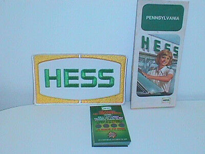 Hess Oil Company 1970's Jacket Patch 1977 Pa Map & 30 Islands Of Adventure Cards