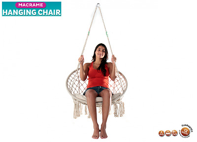 Macrame Hanging Chair Basket  Cushioned Natural Rope Colour Cotton
