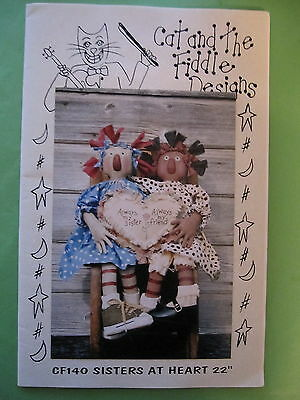 """"""" SISTERS at HEART """"  Cloth Doll  PATTERN  by  Cat & the Fiddle Designs"""