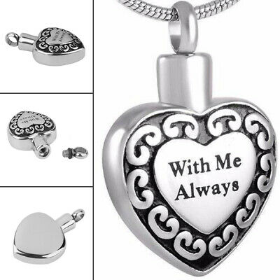 Cremation Pendant for Ashes Funeral Ash Holder Silver Heart Necklace Keepsakes