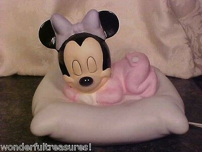 Cute DISNEY Porcelain MINNIE MOUSE Trap Door PJ's Snoozing on Pillow NIGHT LIGHT