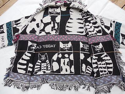 Big Sky CC Cats Kittens Black & White Woven Cotton Open Front Jacket Made in USA