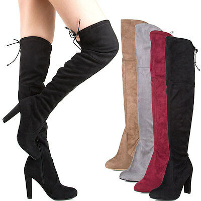 5bc1720dc03 NEW WOMEN WILD Diva Vanessa-03 Faux Suede Over The Knee Lace Up ...