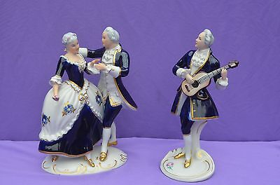 Royal Dux Figurines- 18th Century Styled Dancers & Guitar Player