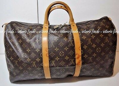 Authentic Louis Vuitton Keepall 50 Monogram Canvas Luggage Duffle Travel Bag