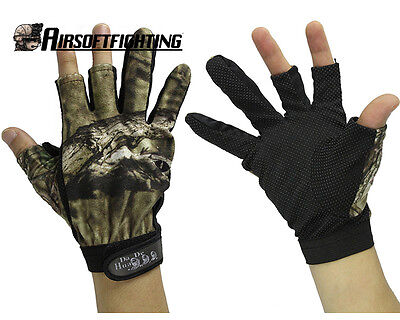 NEW Anti-Slip 3 Finger Cut Fishing Gloves Protector Camouflage for Kite Hunting