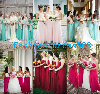 Stock Long Chiffon Formal Wedding Evening Party Gown Bridesmaid Dress Size 6-18