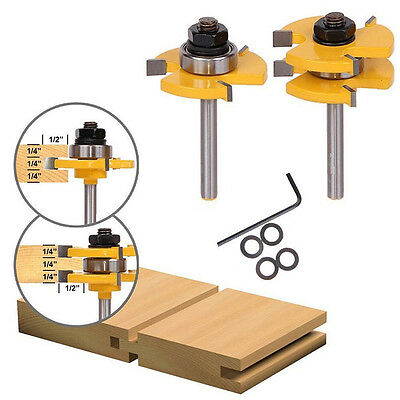 """2x Matched Tongue Groove Router Bit Set 3/4"""" Stock 1/4"""" Shank Wood Cutter Tool"""