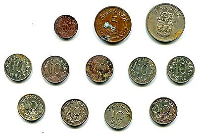 LOT OF 12 OLD DANISH COINS - Krone & Ore - 1950's -1970's