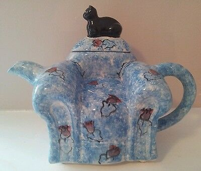 Swineside Teapot. Black cat on blue arm chair.  Collectable. Pristine.