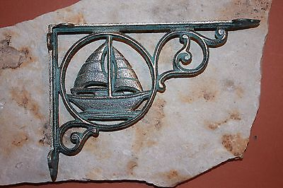 (2)Pcs,sailboat Shelf Decor, Shelf Brackets,cast Iron, Bronze-Look, Boating B-32