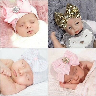 New Cute Newborn Baby Girls Infant Toddler Comfy Bowknot Hospital Cap Beanie Hat