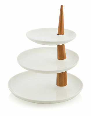 NEW 'CASA UNO' 3 Tier Tree Round Porcelain Cake Stand with Bamboo Handles RRP$94