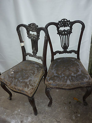 Genuine Barn find, A pair of Edwardian salon chairs 4 restoration