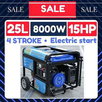 POWER GENERATOR Electric Start 15HP 9.6KVA 8000 w Rated Petrol Camping 4 Stroke