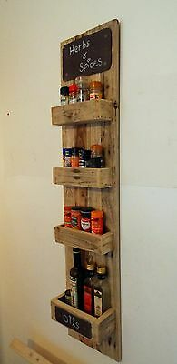Large Rustic kitchen Spice Rack Handmade Reclaimed Personalised Pallet wood