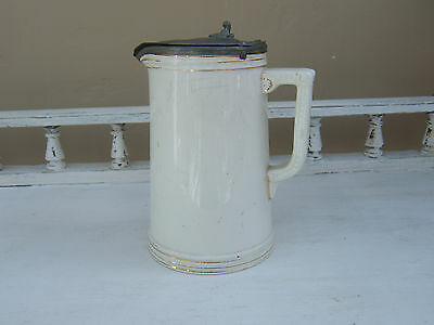 Antique Cream Pottery Jug with Metal Lid Marked