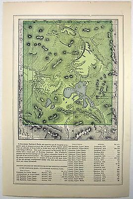 Original 1888 Map of Yellowstone National Park by Fisk & Company