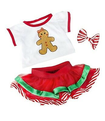 "Gingerbread Girl Christmas santa outfit teddy clothes to fit 15"" build a bear"