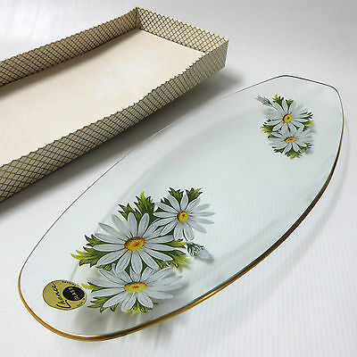 """Chance Glass, Daisies long serving plate BOXED & LABEL, 1970 13.5"""" Fiestaware"""