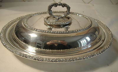Antique Silver Plated Oval, Lidded Entree Dish With Snap Top Handle.