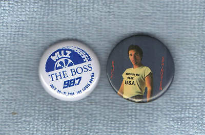 Bruce Springsteen - Detroit PROMO ONLY metal pin WLLZ Rare 1984 & Born in USA
