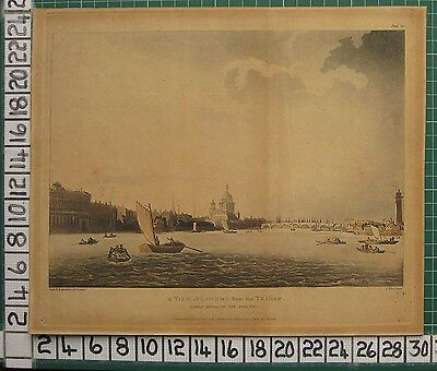 1809 Dated Antique Print ~ Pugin Rowlandson - View Of London From The Thames