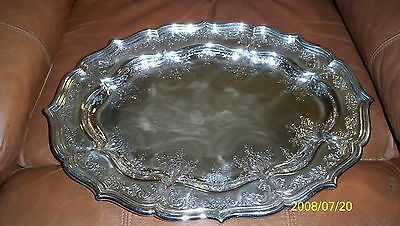 """Sterling Silver Oval Platter / Tray 13 1/4"""" X 18 1/2"""""""