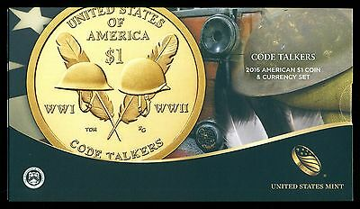 2016 S Code Talkers Native American $1 Dollar Enhanced Coin & Currency Set
