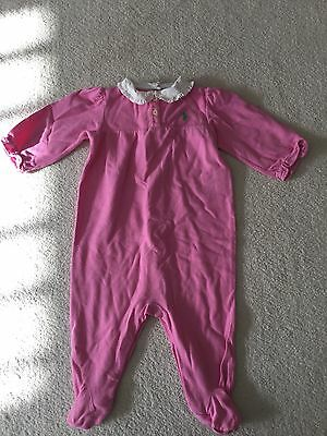 Baby Girls Ralph Lauren Pink All In One With White Ruffle Collar-9 Mnths