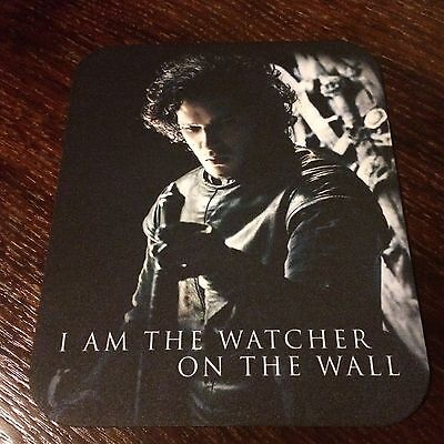 "Game Of Thrones Mousepad Jon Snow Picture ""I Am The Watcher On The Wall"" 8.5X7"