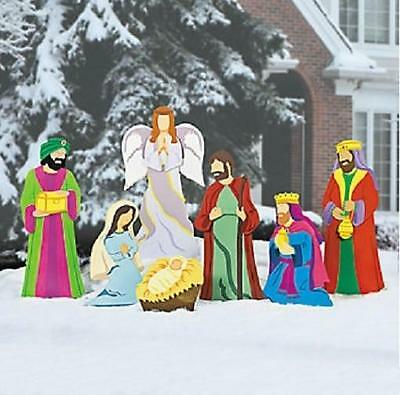 Large Deluxe Nativity Scene Metal Outdoor Christmas Set (7-pc Set) ~NEW