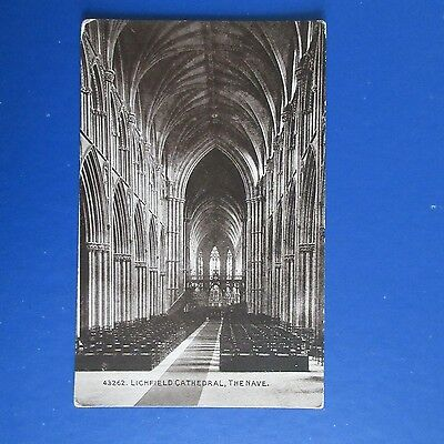 Old Postcard of Lichfield Cathedral, The Nave.